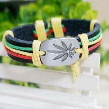 Mode Unisex Alloy Marijuana Leaf Leder Kreuz Armband Stulpe Charme Armbänder Ban