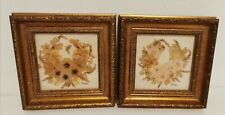 Retro framed hand-crafted pressed dried flowers picture signed Katy Bell Welford