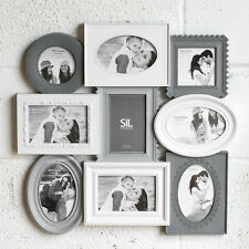Large Grey & White 9 Aperture Multi Picture Photo Frame Shabby Chic Wall Collage