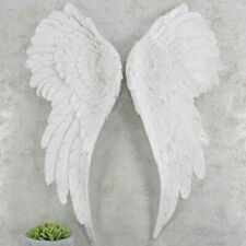 Large Wall Mounted ANGEL WINGS 54cm White GLITTER Wall Hanging Home Deco