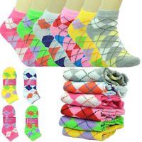 12 Pairs For Women Fashion Cotton School Casual Low Cut Socks Size 9-11 argyle