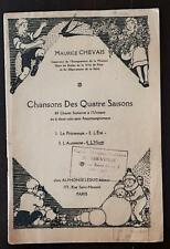 """CHANSONS DES QUATRE SAISONS """"L'HIVER"""" (4) par M. CHEVAIS. Chants scolaires."""
