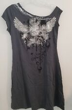 NEW DKNY Jeans Women's Long Gray Metallic Graphic T Shirt Dress Tunic Top Sexy M