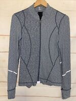Women's ZELLA Long Sleeve Activewear Zip Up Athletic Shirt Striped Gray Small Sm