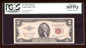 DBR 1953-B $2 Legal Fr. 1511 PCGS 30 PPQ Serial A65583590A