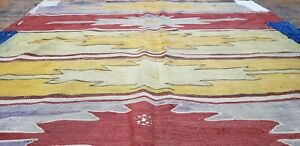 """Pre-1900's Antique Natural Dye Wool Flat Woven Kilim 4'6""""×9'8"""" for Collectors"""