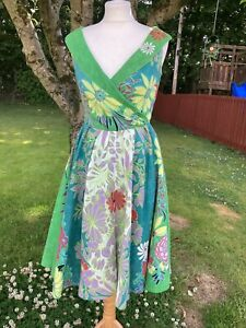 Ladies Size S, Green Floral Embroidered Sleeveless Dress From Rene Derhy