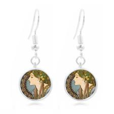 Beautiful lady Glass Dome Earrings Art Photo Tibet silver Earring Jewelry #32