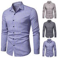 Fashion Mens Luxury Stripe Stylish Slim Fit Long Sleeve Casual Dress Shirts Tops