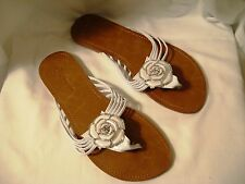 Women's White Flip Flop Sandals Embellished w/ White Plastic Flower -  7 Medium