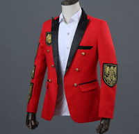 Embroidery Mens Suits Blazers Armbands Jacket coat Long Sleeve Decor Singer Show