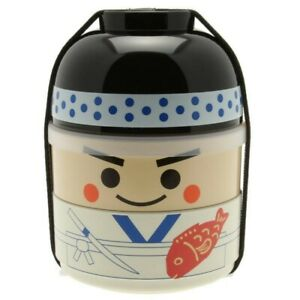 Japanese Bento Box Food Lunch Container 2-Tier Kokeshi Sushi Chef Made in Japan
