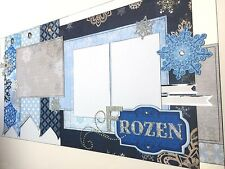 """FROZEN"" layout Premade Scrapbook page Elsa Anna Olaf Disney World Princess DD"