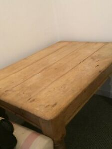 Old 4 Plank Pine Scrubbed Top Farmhouse Table