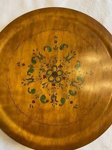 "Hand Painted Wooden Plate Vintage Rosemaling Kitchen Folk Art 16"""