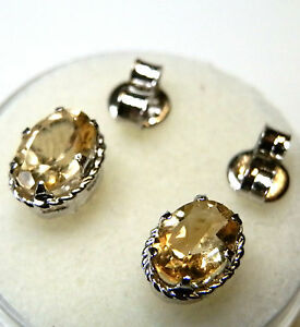 Genuine earth-mined citrine earring studs in sterling silver .7 mm x 5 mm