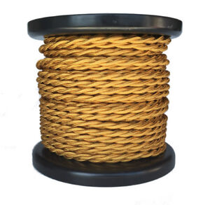 25 Feet of Twisted cloth Covered Lamp Wire, Antique Style 18/2 Twisted Cord