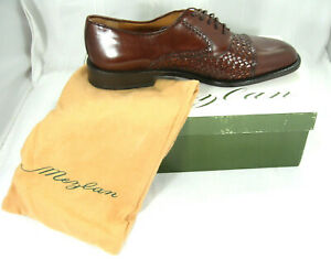 Mezlan Mens Brown Leather Basket Weave Cap Toe Oxford San Juan Shoe Sz 11.5 M