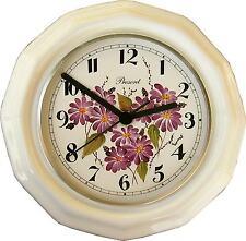 022108F Keramik Küchenuhr vieleckig große dunkelrosa Blumen handbemalt Funkuhr