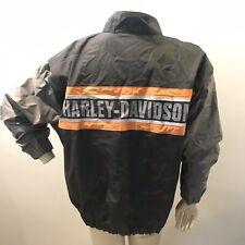 VINTAGE HARLEY DAVIDSON MEN'S L NYLON MOTORCYCLE RACING JACKET WINDBREAKER EUC