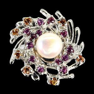 Round Pearl 7mm Rhodolite Garnet Sapphire Diamond Cut 925 Sterling Silver Ring 8