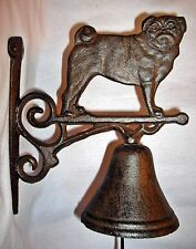 PUG DOG Design Cast Iron HANGING BELL on a Scrolling Bracket with ~ BULLDOG ~