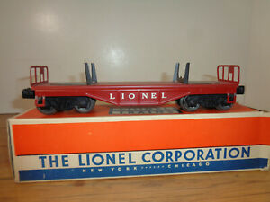 LIONEL O GAUGE # 6111 RED SHEET METAL FLAT CAR AND PARTIAL BOX