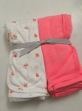Carters Baby Girl 2 pack Swaddle Blankets White Neon Pink Floral Layette