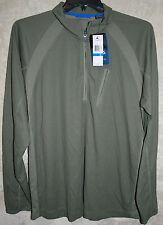 NEW CHAPS long sleeve Explorer shirt Olive Green  XL 1 zip Pocket  Wicking