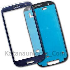 Vitre écran Samsung Galaxy S3 SIII i9300 Bleu avec Adhésif Front Glass