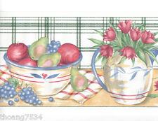 Fruit Bowl Tulip Flower Vase Kitchen Plate Green Plaid Check Wall paper Border