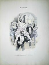 GRAVURE COULEURS XIX SCENE GALANTE (14) VIE MONDAINE PARISIENNE LIBERTINE F. BAC