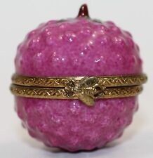 LIMOGES France Peint Main Porcelain Signed Raspberry Fruit Trinket Box RARE