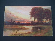 Vintage C W Faulkner Art Postcard # 711B -  The Bend Of The River. Posted 1907