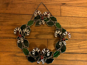 "9.5"" Stained Glass Christmas Wreath Hanging Suncatcher - Holly & Candy Canes"
