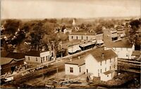 Woodhull Illinois~Birdseye View Main St~Anderson & Nye Lumber Office~c1910 RPPC