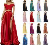 New Two Piece Lace Satin Prom Dress Formal Evening Party Bridesmaid Gown Dress
