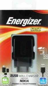 Energizer Charger For Nokia - 2 USB 1 Amp Black 2 Adapters - New