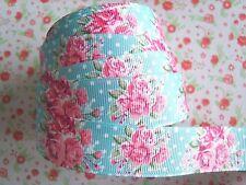1 M X shabby chic rose nastro di seta grossa Craft PARTY TORTA capelli fiocco regalo Wrap 22mm