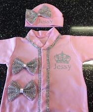 Romany Bling Baby Girls' Personalised Gift Set Frilly Babygro & Hat