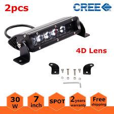 2X 7inch 30W Cree LED Slim Single Row Light Bar Spot Beam Truck 4WD SUV 4D Lens
