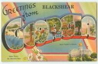 Blackshear Georgia GA Large Letter Linen Tichnor Vintage Postcard 24536