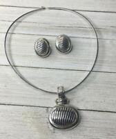 Vintage Silver Tone Necklace & Earrings Set