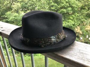Vintage DOBBS American  Men's Black Felt Fedora Hat w/Feather Band • Size  7 1/8