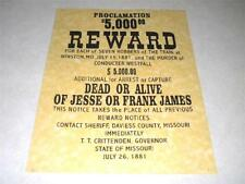 JESSE OR FRANK  JAMES  WANTED POSTER EXACT REPRODUCTION ON  PARCHMENT PAPER