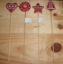 12er Weihnacht Blumenstecker nordisch rot Norweger 4fach sortiert #804270