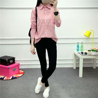 Women's Korean Style Autumn Fashion Cotton Stripe Pattern Casual Shirt Top