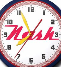 Nash Automobile Neon Wall Clock Hand Made In The USA 20 Inch Red White & Blue