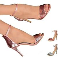 Women Ankle Strap Shoes Sequins Peep Toe Party Evening Heeled Sandals Size