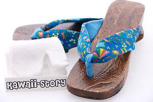 K-G-09 Blau blue Geta Japan Holz Sandale Tabi Socken Kimono Geisha 24,5cm/Gr 38